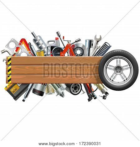 Vector Board with Wheel and Car Spares isolated on white background