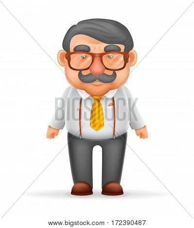 Businessman Adult Man Mustache Suspenders Eyeglasses Geek Hipster 3d Realistic Cartoon Character Isolated Vector Illustration