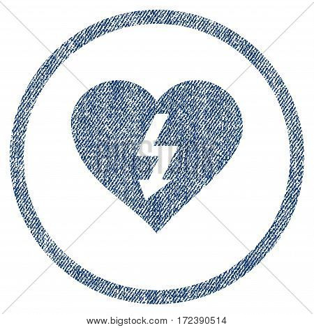 Power Love Heart textured icon for overlay watermark stamps. Blue jeans fabric vectorized texture. Rounded flat vector symbol with unclean design.