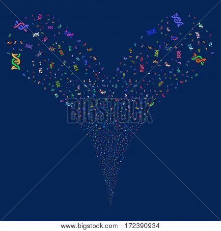 DNA Spiral fireworks stream. Vector illustration style is flat bright multicolored iconic symbols on a blue background. Object double fountain done from random symbols.