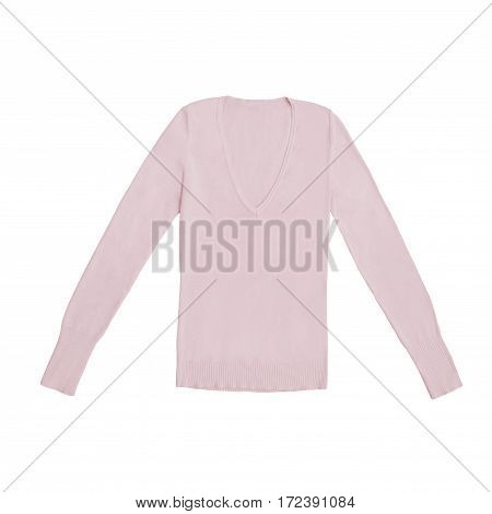 blush rose pjnk v-neck pullover, isolated on white background