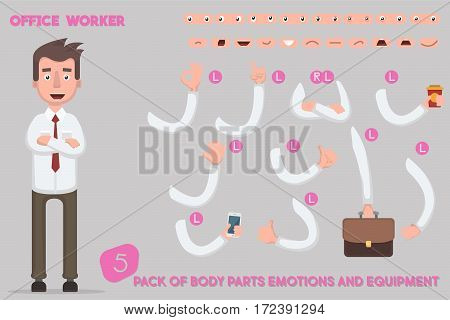 Parts body template for design work and animation. Funny office man cartoon. Vector illustration on light background. Set the character says costume animations. Men game.