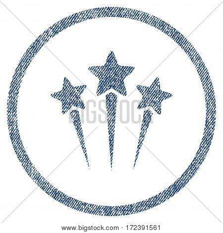 Star Salute textured icon for overlay watermark stamps. Blue jeans fabric vectorized texture. Rounded flat vector symbol with scratched design.
