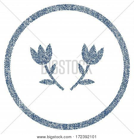 Tulip Flowers textured icon for overlay watermark stamps. Blue jeans fabric vectorized texture. Rounded flat vector symbol with scratched design.