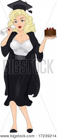 Illustration of a Girl Holding a Cake