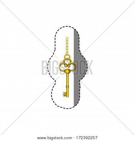 sticker with silhouette of vintage gold key with chain vector illustration