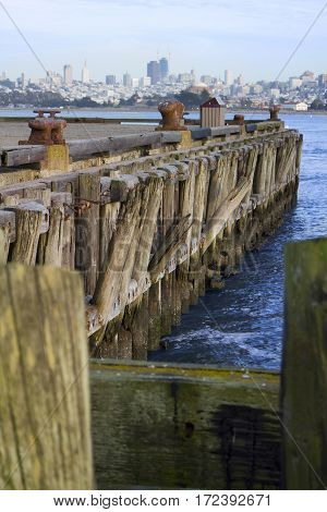 Wooden pier in the San Francisco bay.