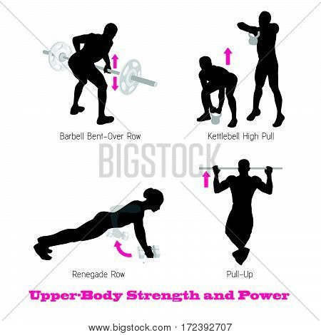 exercise physical muscle silhouette setphysical muscle silhouette illustration vector set