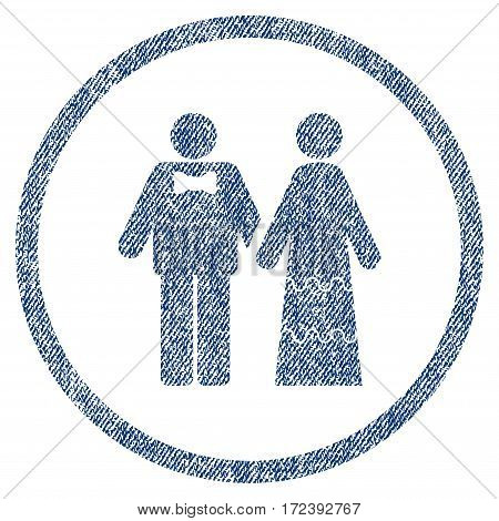 Wedding Persons textured icon for overlay watermark stamps. Blue jeans fabric vectorized texture. Rounded flat vector symbol with scratched design.