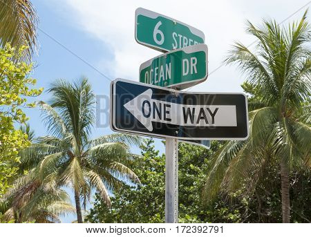 The sign showing 6th Street and famous Ocean Drive crossroad in Miami Beach (Florida).