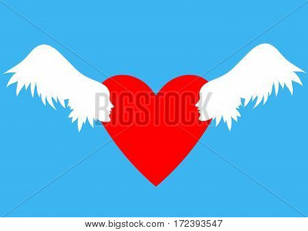 Hearts with wings, sky  clouds. Valentines Day vector illustration. Wings with human faces in profile Winged hearts blue sky background.