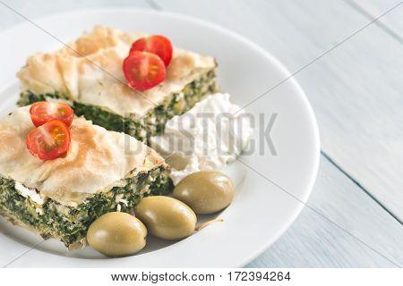 Portion Of Spanakopita - Greek Spinach Pie