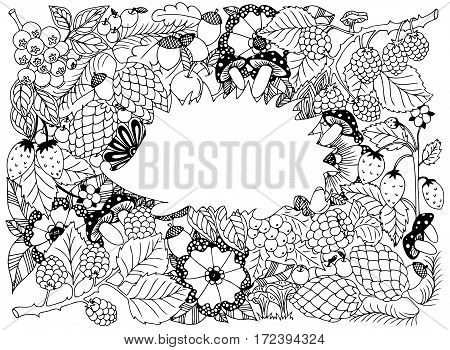 Hedgehog in frame. Vector image in black and white.