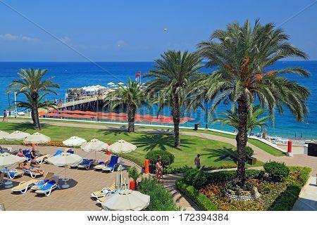 KEMER/ TURKEY - AUGUST 19, 2014: Territory of a luxury hotel in city Kemer, Turkey.