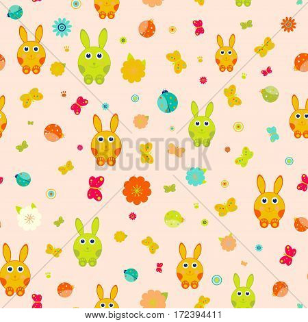 children's summer seamless pattern with hare butterfly vector illustration