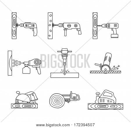 Set of flat repair tool icons. Home repair tools pictogram. Worker tools. Electric tools. Tools sign. Vector illustration.