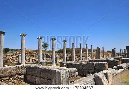 Ruins of the ancient anatolian city Perge (Perga) in Turkey