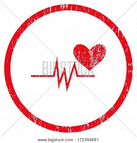 Heart Pulse Signal grainy textured icon for overlay watermark stamps. Rounded flat vector symbol with dust texture. Circled red ink rubber seal stamp with grunge design on a white background.
