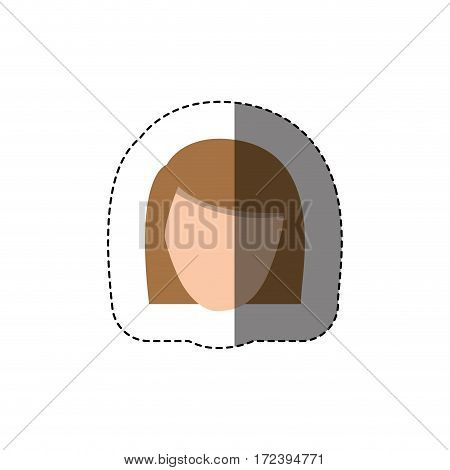 color sticker with head of woman with light hair without face vector illustration