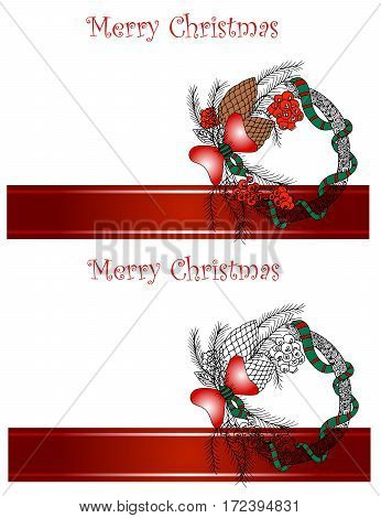 Christmas and New Year Vector greeting card.