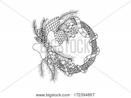 Christmas crown. Vector image in balck and white.
