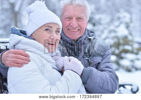Elderly couple smiling and rejoicing in frosty winter