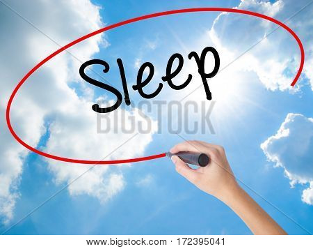 Woman Hand Writing Sleep With Black Marker On Visual Screen