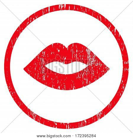 Lips grainy textured icon for overlay watermark stamps. Rounded flat vector symbol with dust texture. Circled red ink rubber seal stamp with grunge design on a white background.