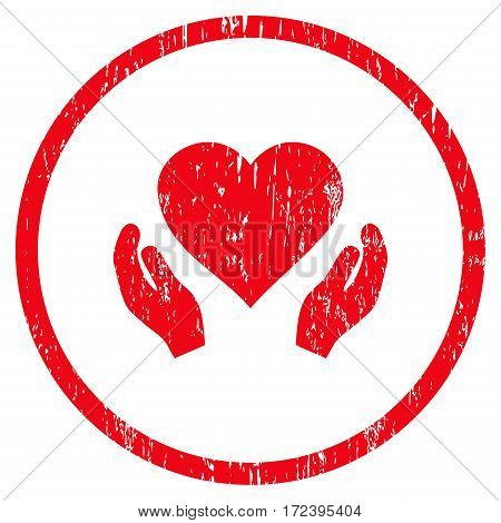 Love Care Hands grainy textured icon for overlay watermark stamps. Rounded flat vector symbol with scratched texture. Circled red ink rubber seal stamp with grunge design on a white background.