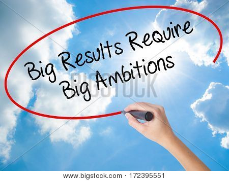 Woman Hand Writing Big Results Require Big Ambitions With Black Marker On Visual Screen