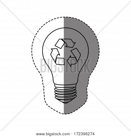 monochrome contour sticker with silhouette light bulb with recycling symbol vector illustration