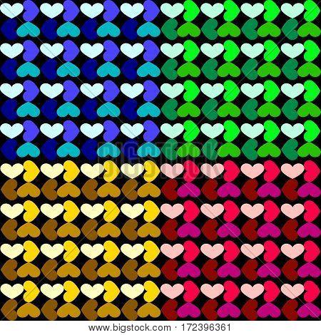 The pattern of a grid of hearts. Set the grid patterns of blue red yellow green hearts