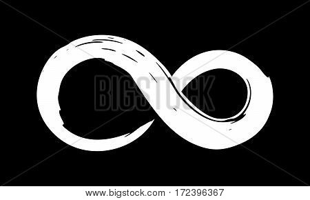 Infinity symbol. Hand painted with ink. Ornamental rounded stamp. Contemporary business branding. Creative cycle emblem. Rounded mobius ribbon. Trendy grunge brush stroke. Vector illustration