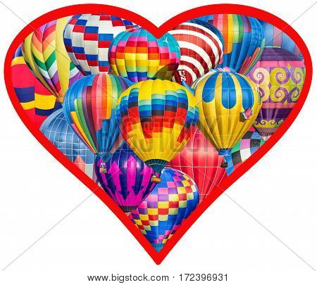 A Heart Full Of Hot Air Balloons On A White Background
