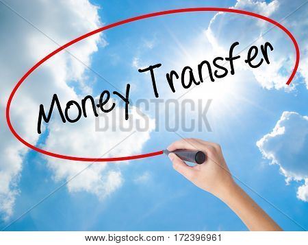 Woman Hand Writing Money Transfer  With Black Marker On Visual Screen
