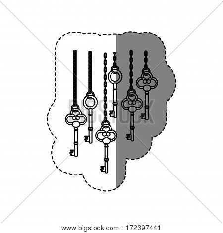 monochrome contour sticker with vintage keys hanging on chains vector illustration