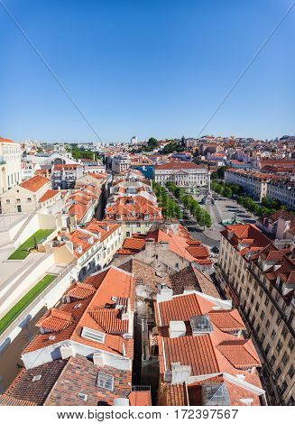 View of Alfama and Square D. Pedro 4, the old neighborhood of Lisbon, from the Santa Justa Lift