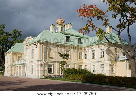 LOMONOSOV, RUSSIA - SEPTEMBER 20, 2015: Grand Menshikov Palace in the afternoon under stormy skies. Oranienbaum