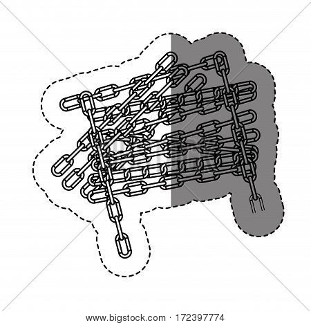 monochrome contour sticker with chain vector illustration