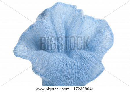 Knitting mohair wool and knitting needles for handmade on wooden table. Blue Flower
