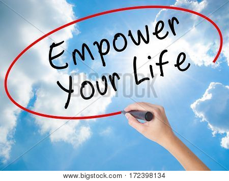 Woman Hand Writing Empower Yourself With Black Marker On Visual Screen