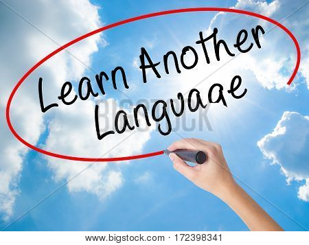 Woman Hand Writing Learn Another Language With Black Marker On Visual Screen