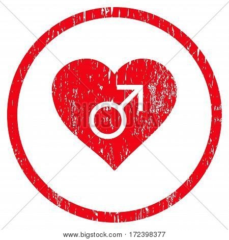 Male Love Heart grainy textured icon for overlay watermark stamps. Rounded flat vector symbol with scratched texture. Circled red ink rubber seal stamp with grunge design on a white background.