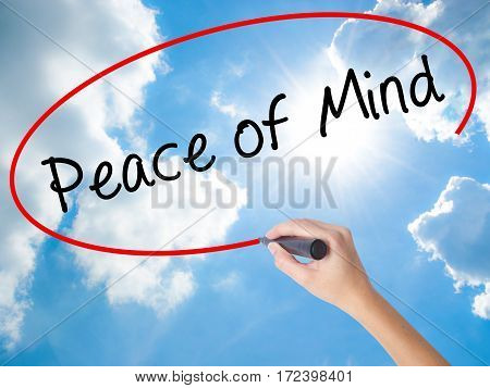 Woman Hand Writing Peace Of Mind Black Marker On Visual Screen