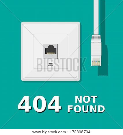 Error 404. Network socket and unplugged patch cord. Page not found. Vector illustration in flat style