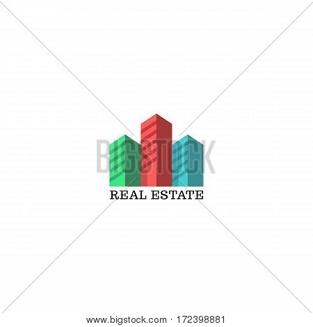 Real estate logo mockup, colored silhouettes of skyscrapers emblem for apartments, residential complex, housing, urban district, city identity or architectural agency