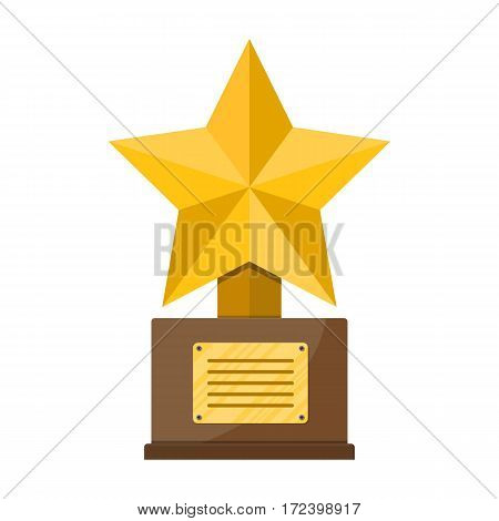 Trophy winner gold cup with wooden base. Star shape. Vector illustration in flat style
