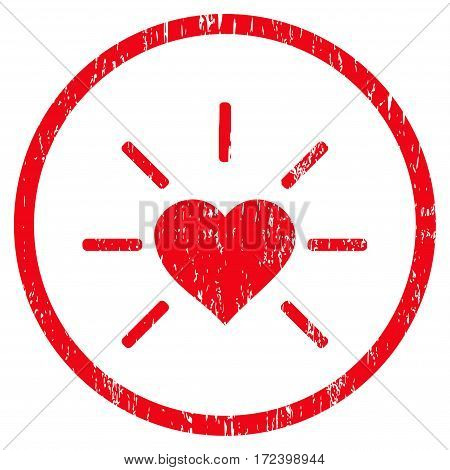Shiny Love Heart grainy textured icon for overlay watermark stamps. Rounded flat vector symbol with unclean texture. Circled red ink rubber seal stamp with grunge design on a white background.