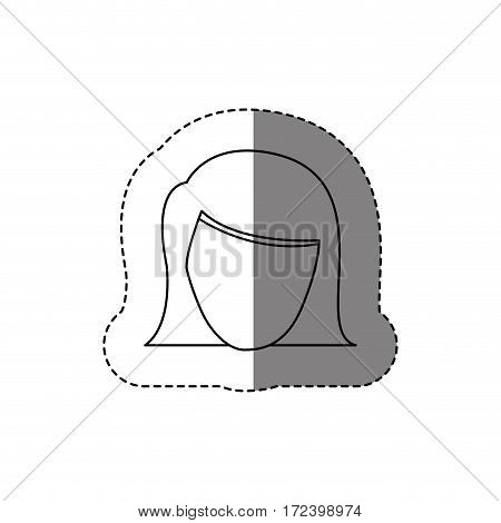 monochrome contour sticker with head of woman without face . Vector illustration