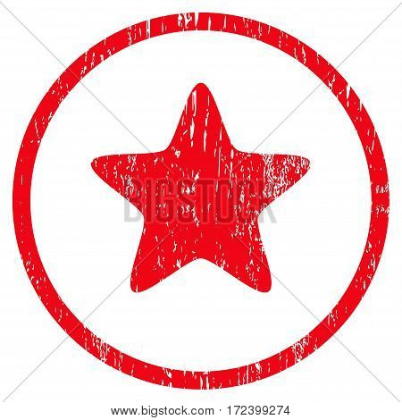 Star grainy textured icon for overlay watermark stamps. Rounded flat vector symbol with unclean texture. Circled red ink rubber seal stamp with grunge design on a white background.